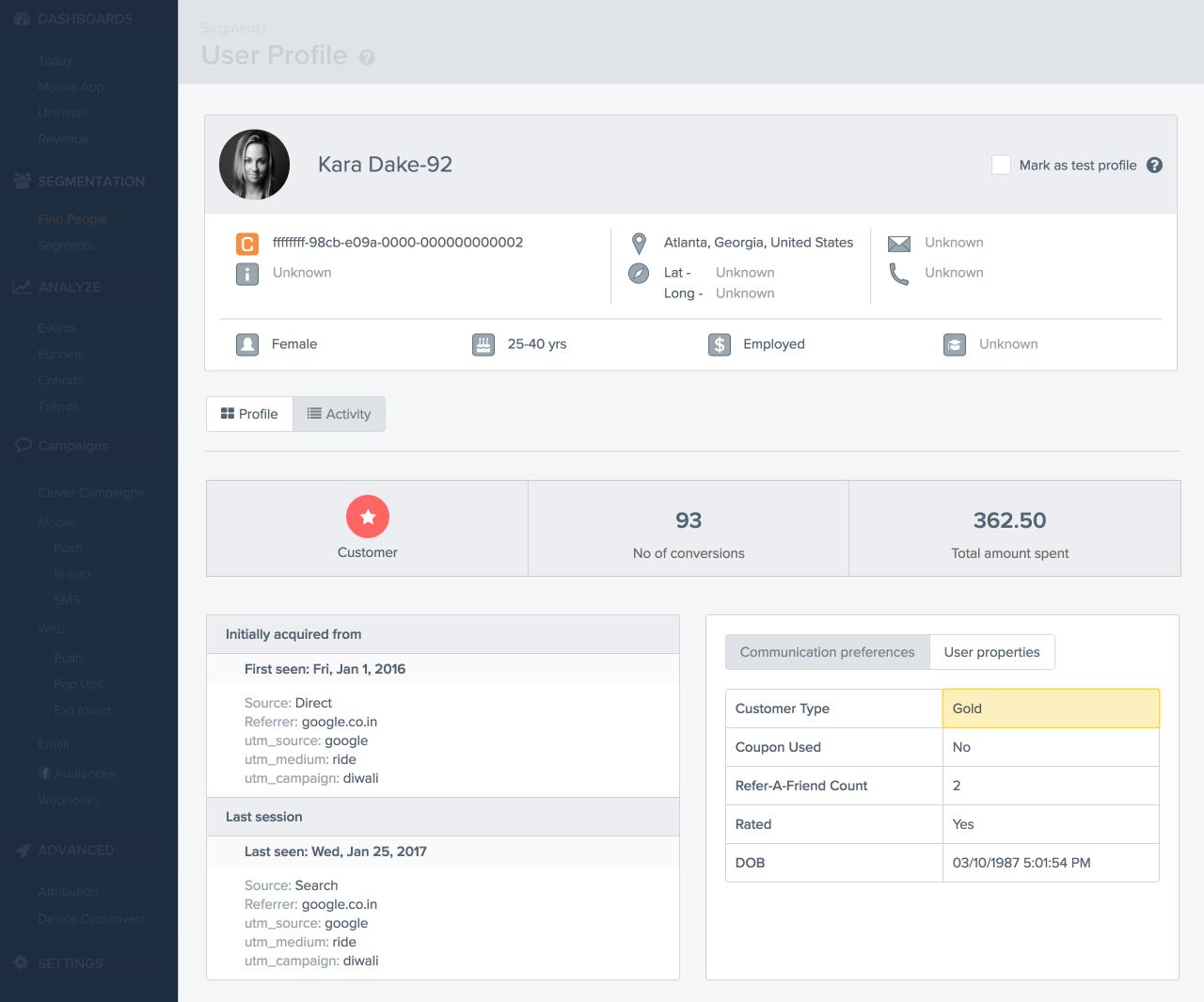 User profile properties