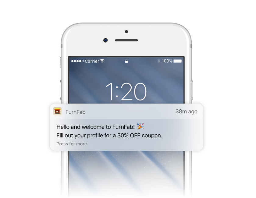Push notification welcome new users