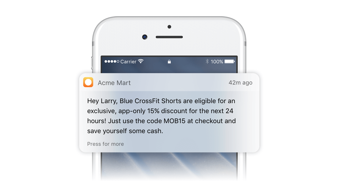 Triggered Push Notification for Discount