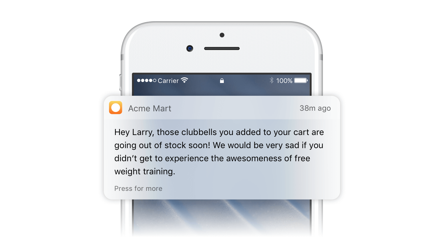 Scheduled Push Notifications Add to Cart