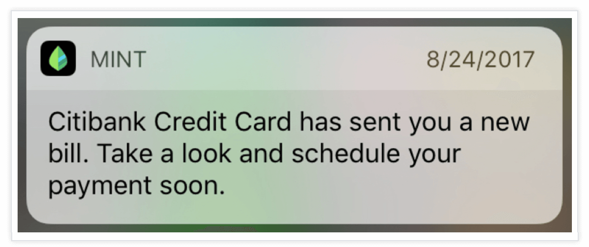 mint push notification
