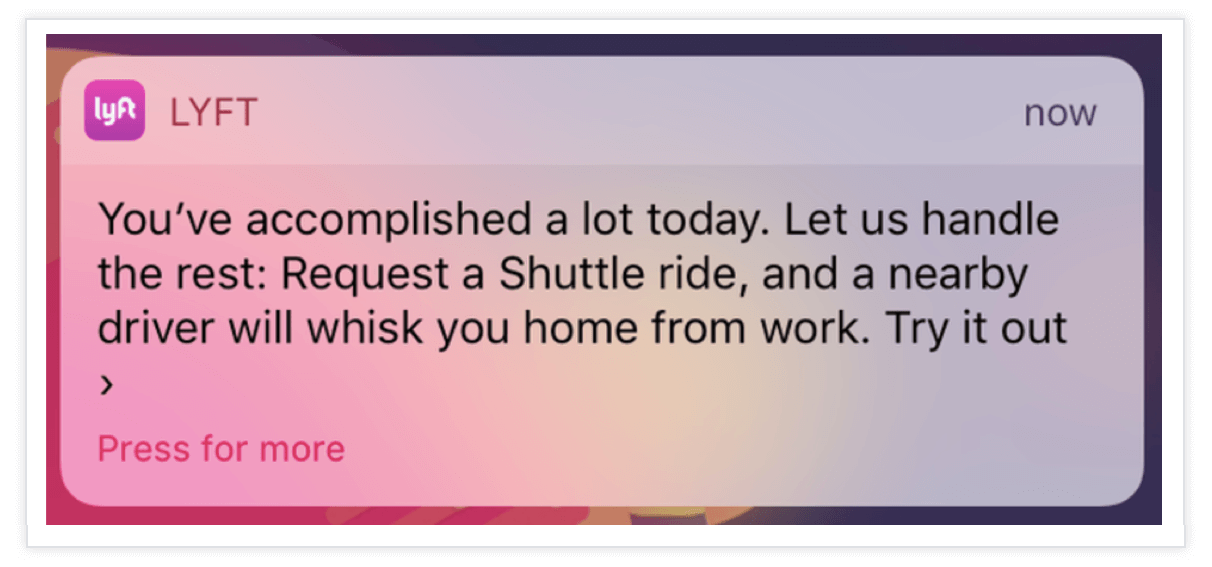lyft push notification