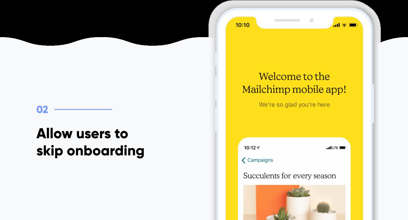 App onboarding - screenshot of Mailchimp onboarding