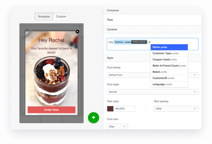 In-app Personalized Messaging