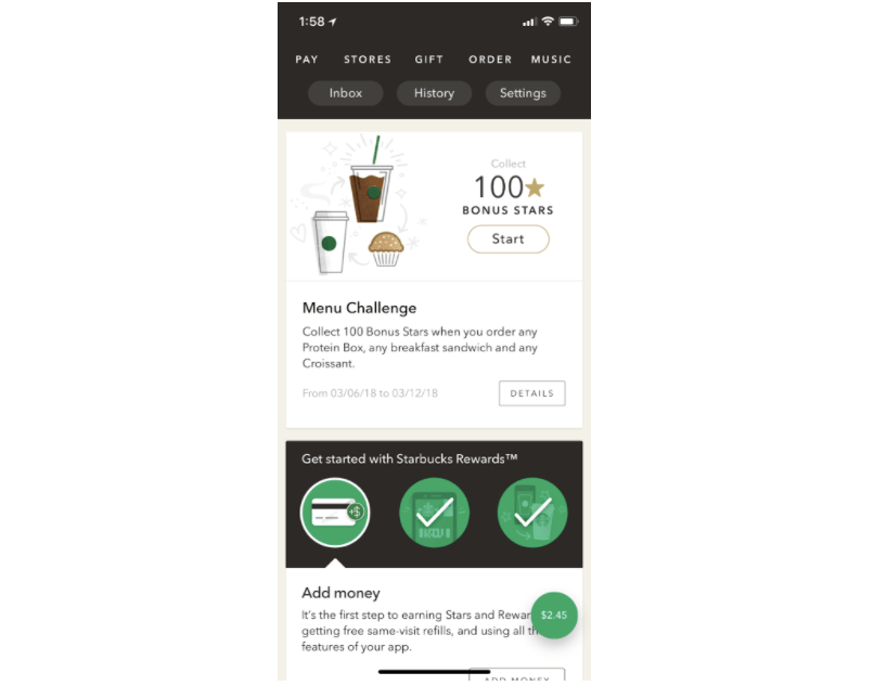 mobile app omnichannel marketing from starbucks allows users to order and pay within the app for pickup at the brick-and-mortar location