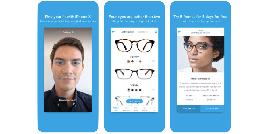 Warby parker's user experience and mobile eye exam offer a streamlined capabilities and less friction for customers