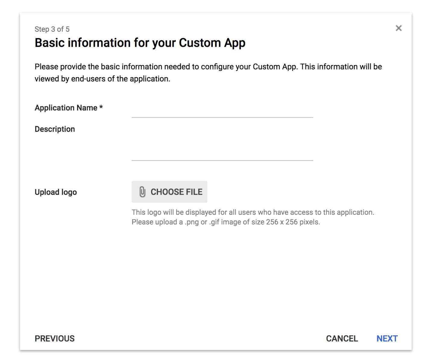 Custom App Information