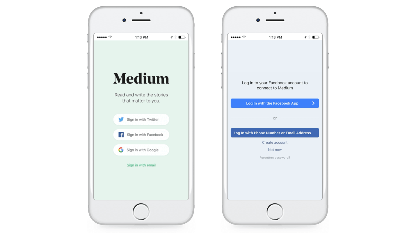 Medium's Social Login Integration