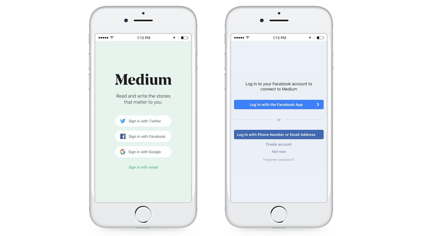 Medium's Social Login Integration