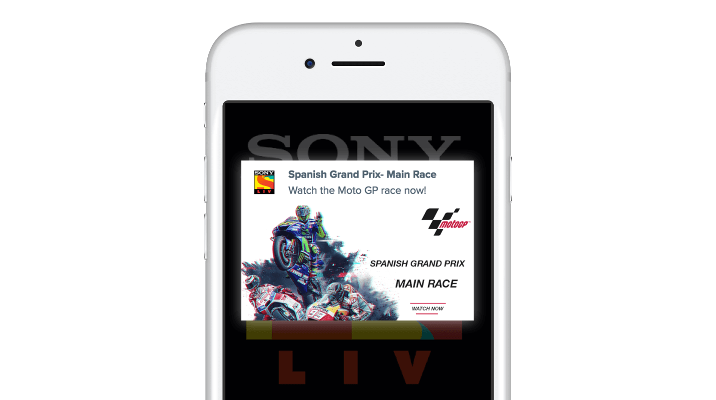 SonyLIV Push Notifications for Moto GP