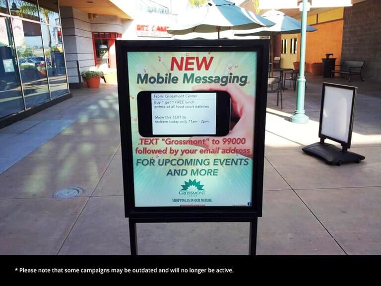 An SMS short code campaign in a mall