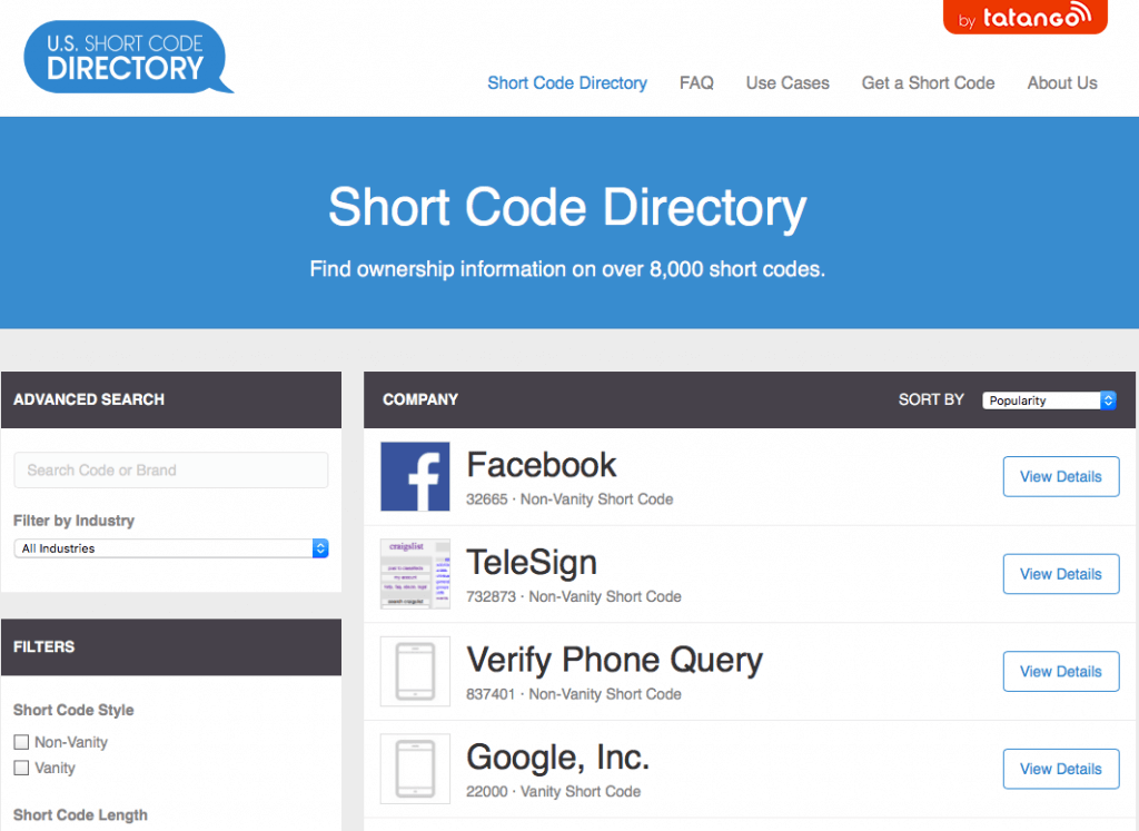 SMS Short Code Directory