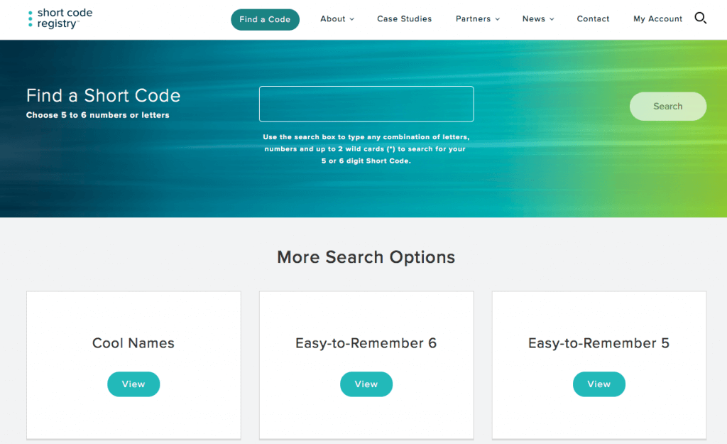 SMS Short code registry