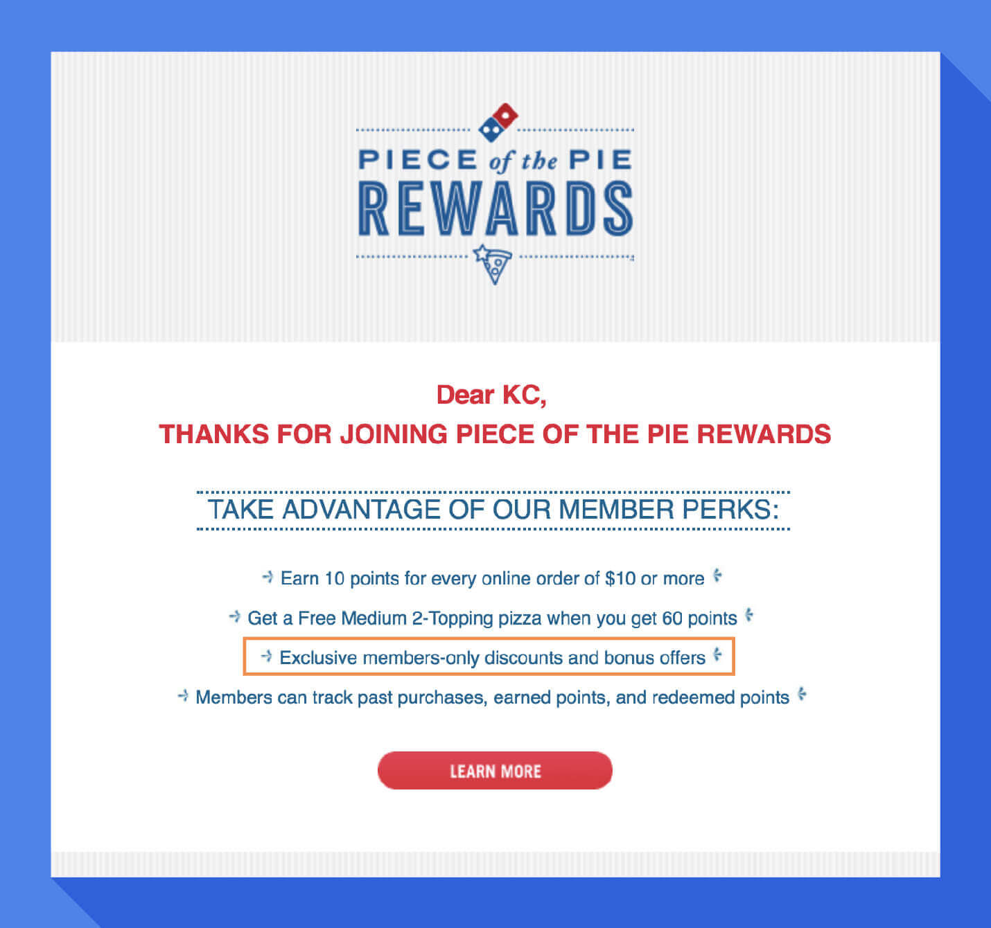 welcome message example from dominos member exclusive offers