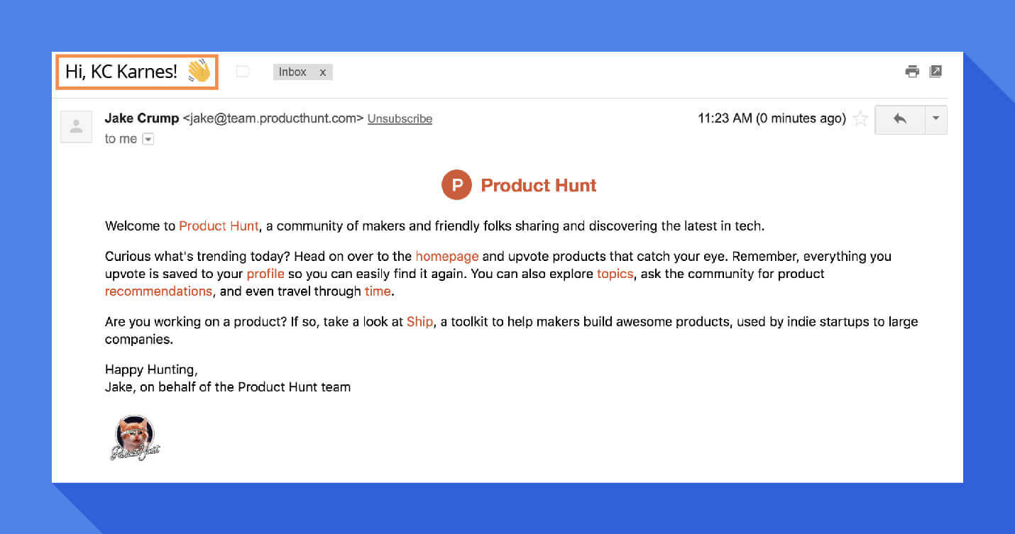 welcome message personalized subject line product hunt