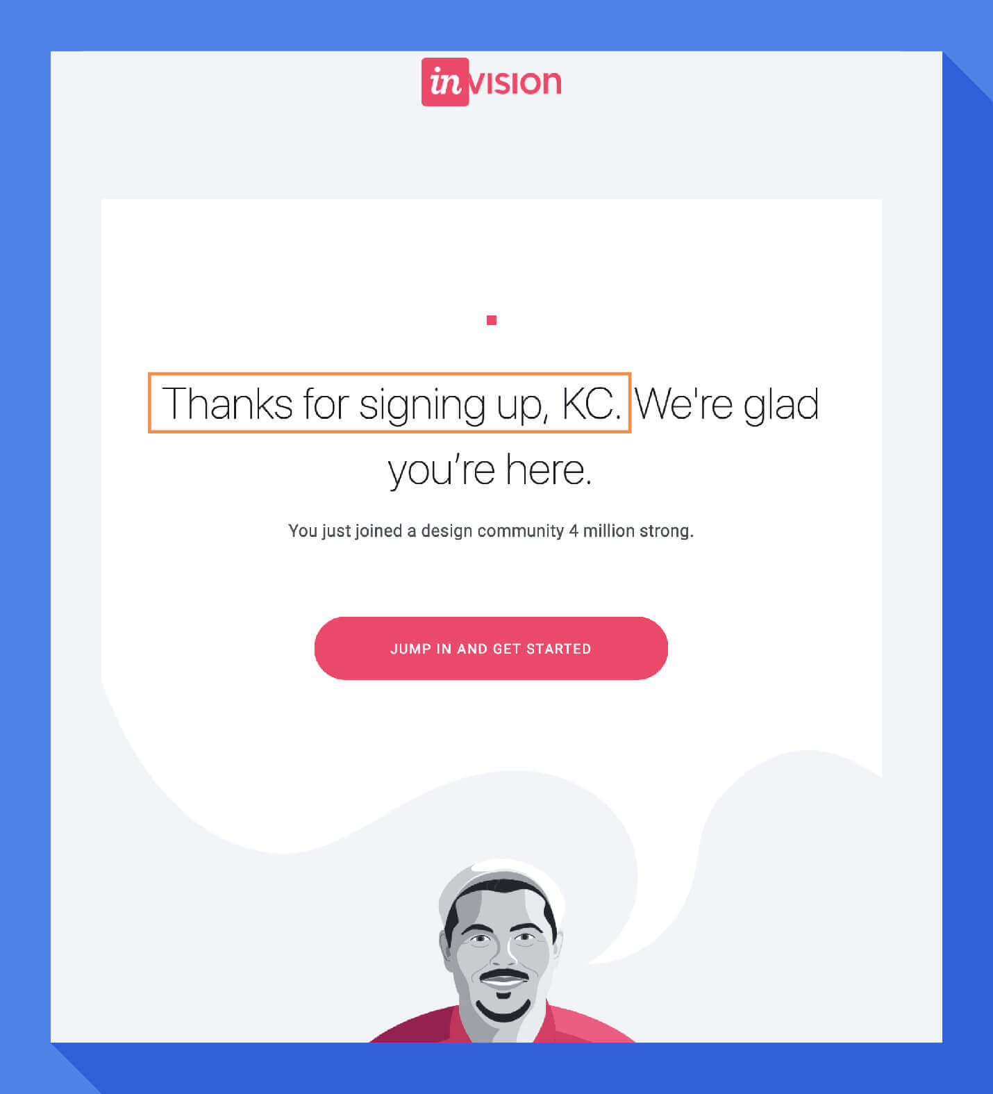 welcome message personalize the email body invision
