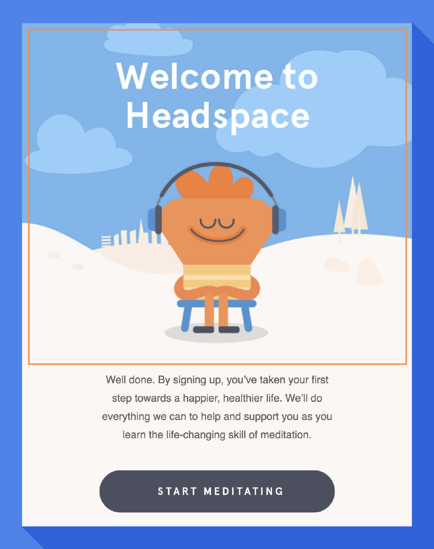 example design for welcome message email from headspace