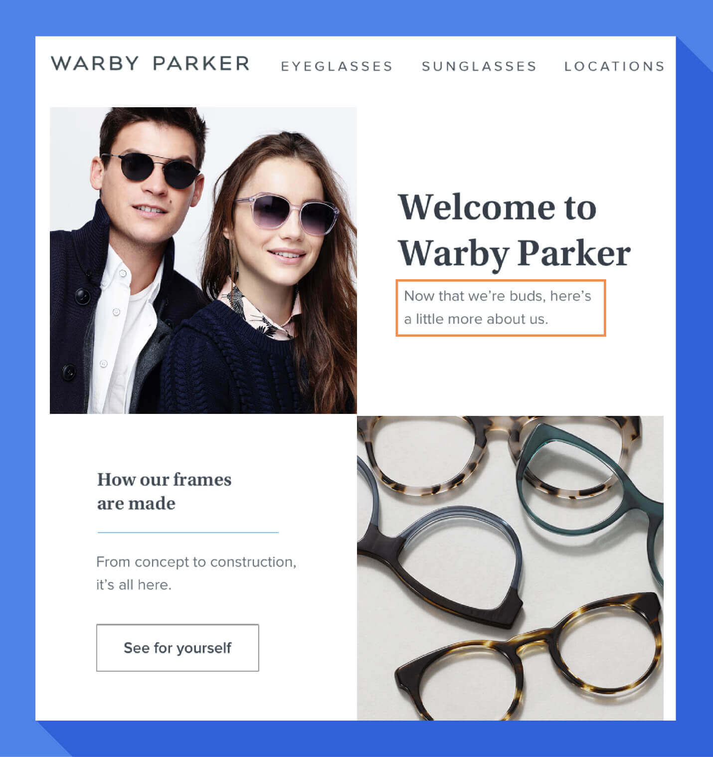 welcome message brand voice example from warby parker welcome email