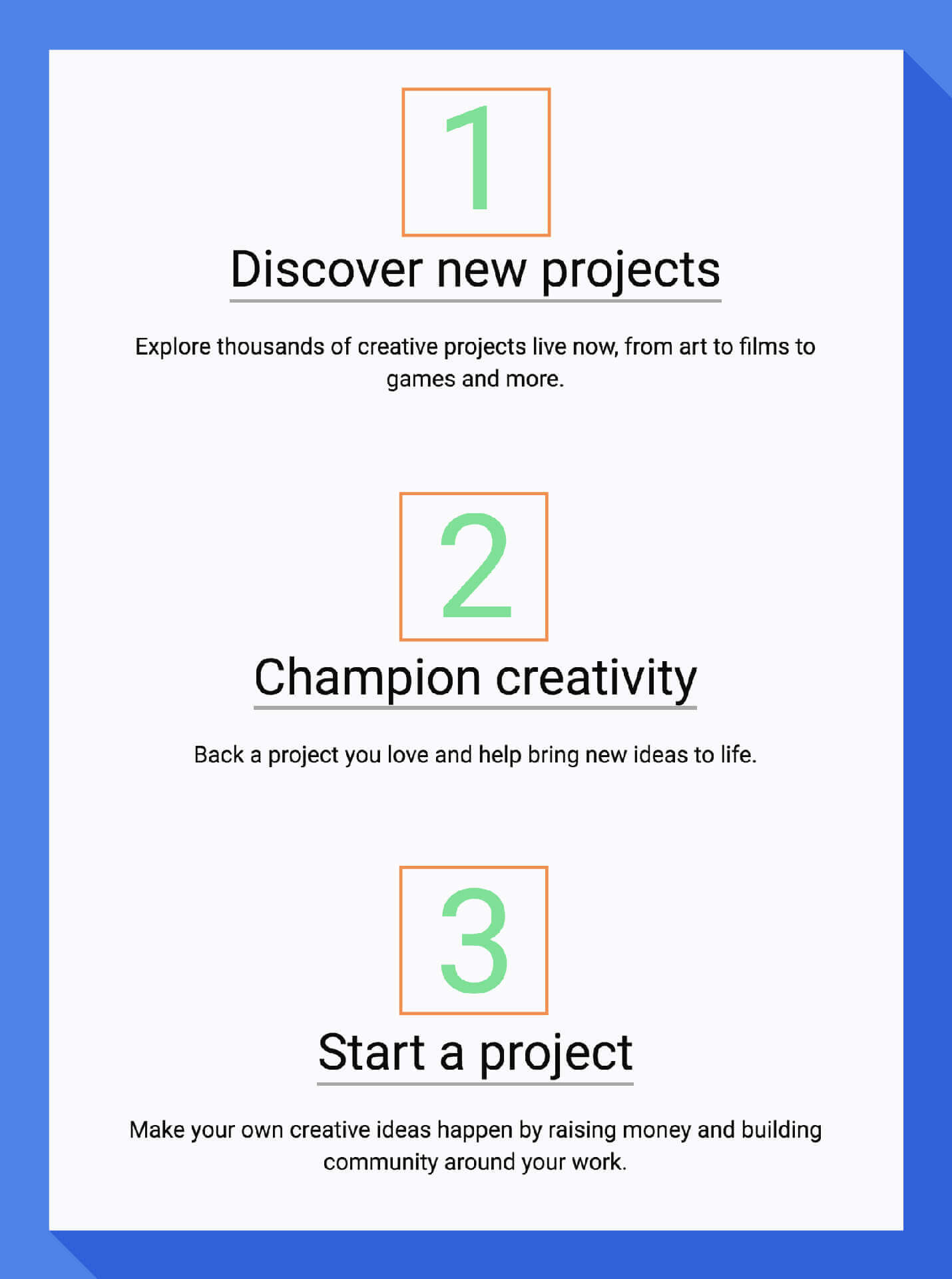 example onboarding steps from kickstarter welcome email