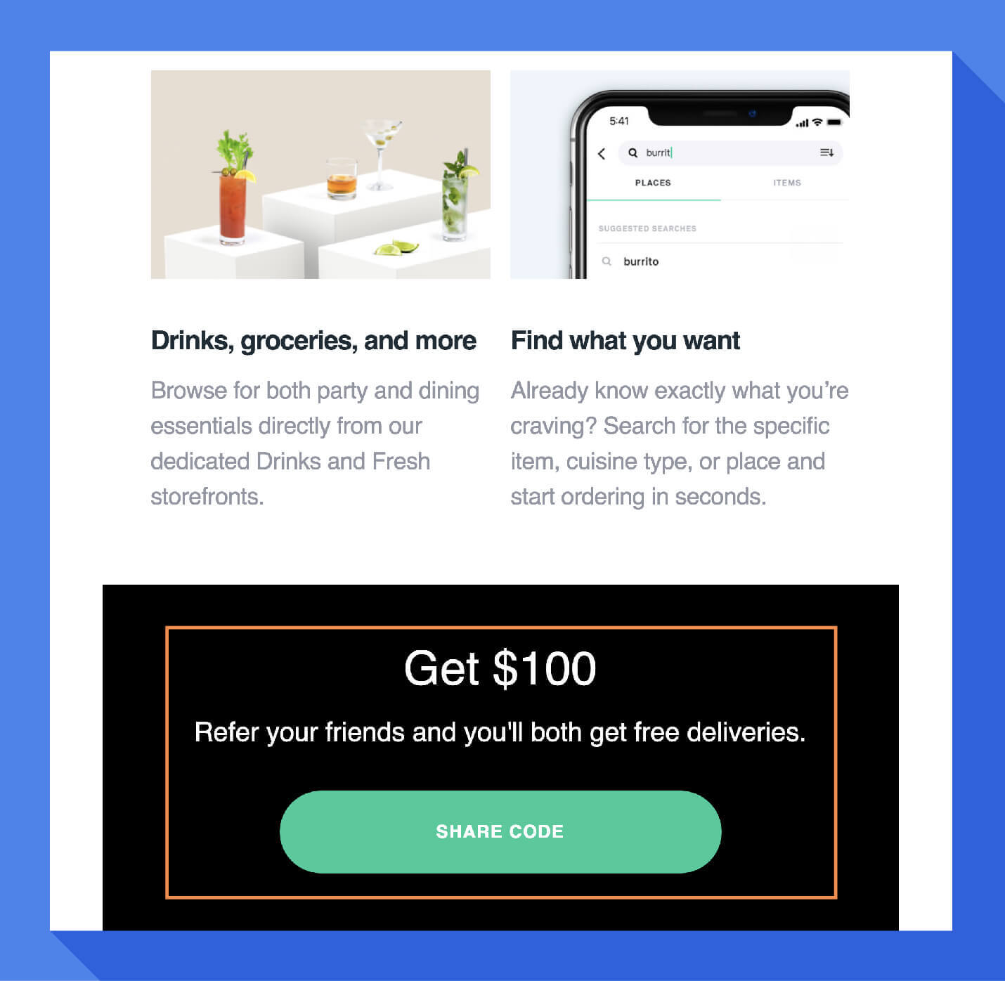 example referral marketing from postmates welcome message