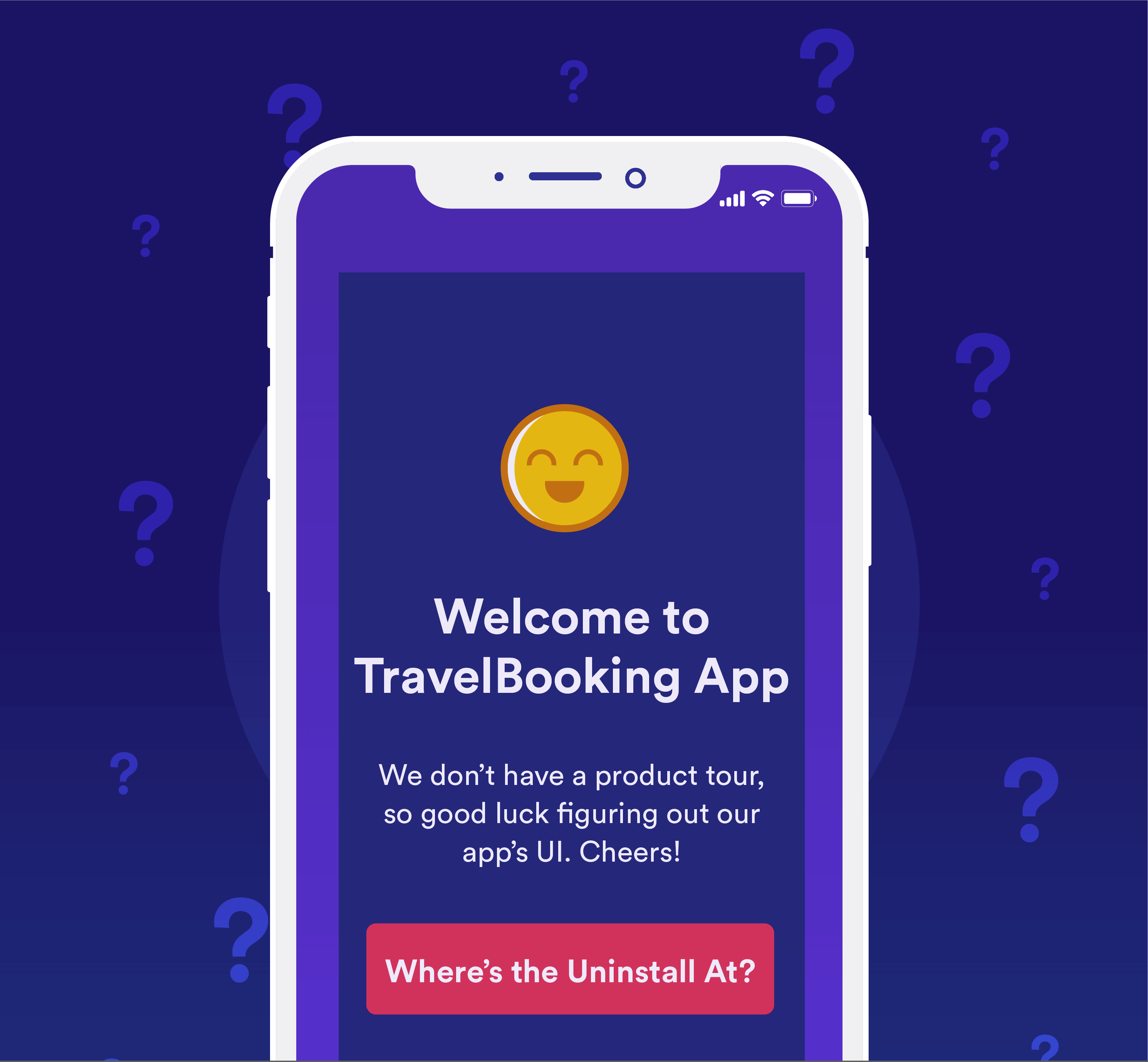 Welcome to TravelBooking App. We don't have a product tour, so good luck figuring out our app's UI