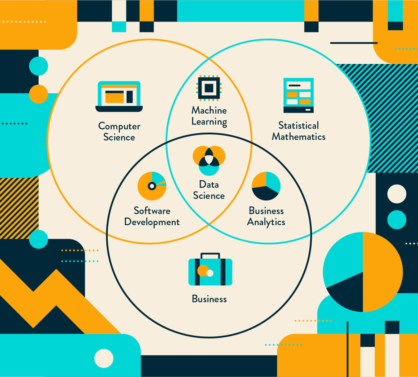data science combines multiple disciplines outlined in this venn diagram graphic with icons for each and other iconography in shades of blue and orange