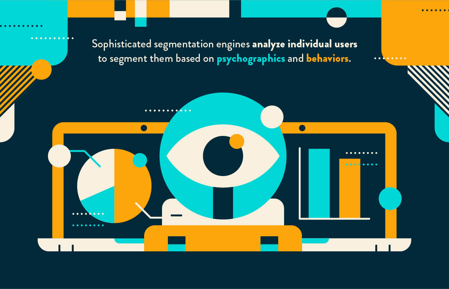 psychographic segmentation data science icon with eye analyzing charts in shades of blue and orange