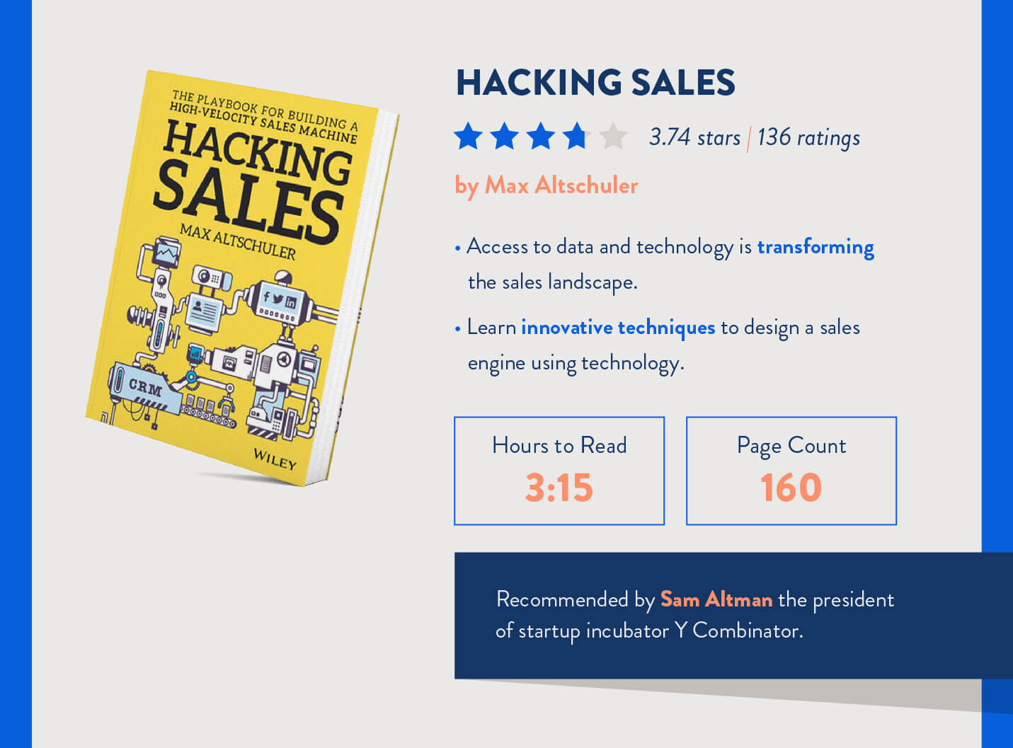 hacking sales book with ratings, time to read, page count, and recommendations