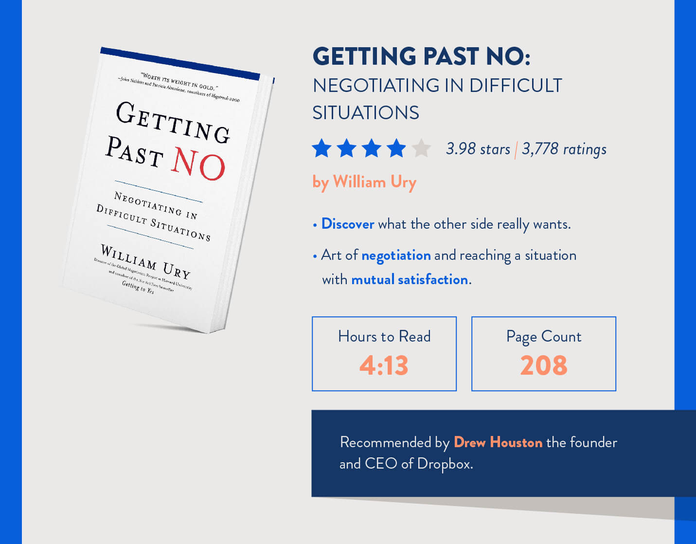books for mobile marketers getting past no by William Ury hours to read and page count