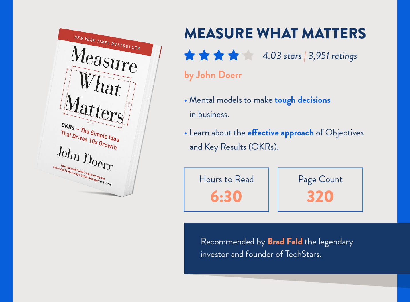 Measure what matters marketing book by john doerr about OKR and recommended by investor brad feld