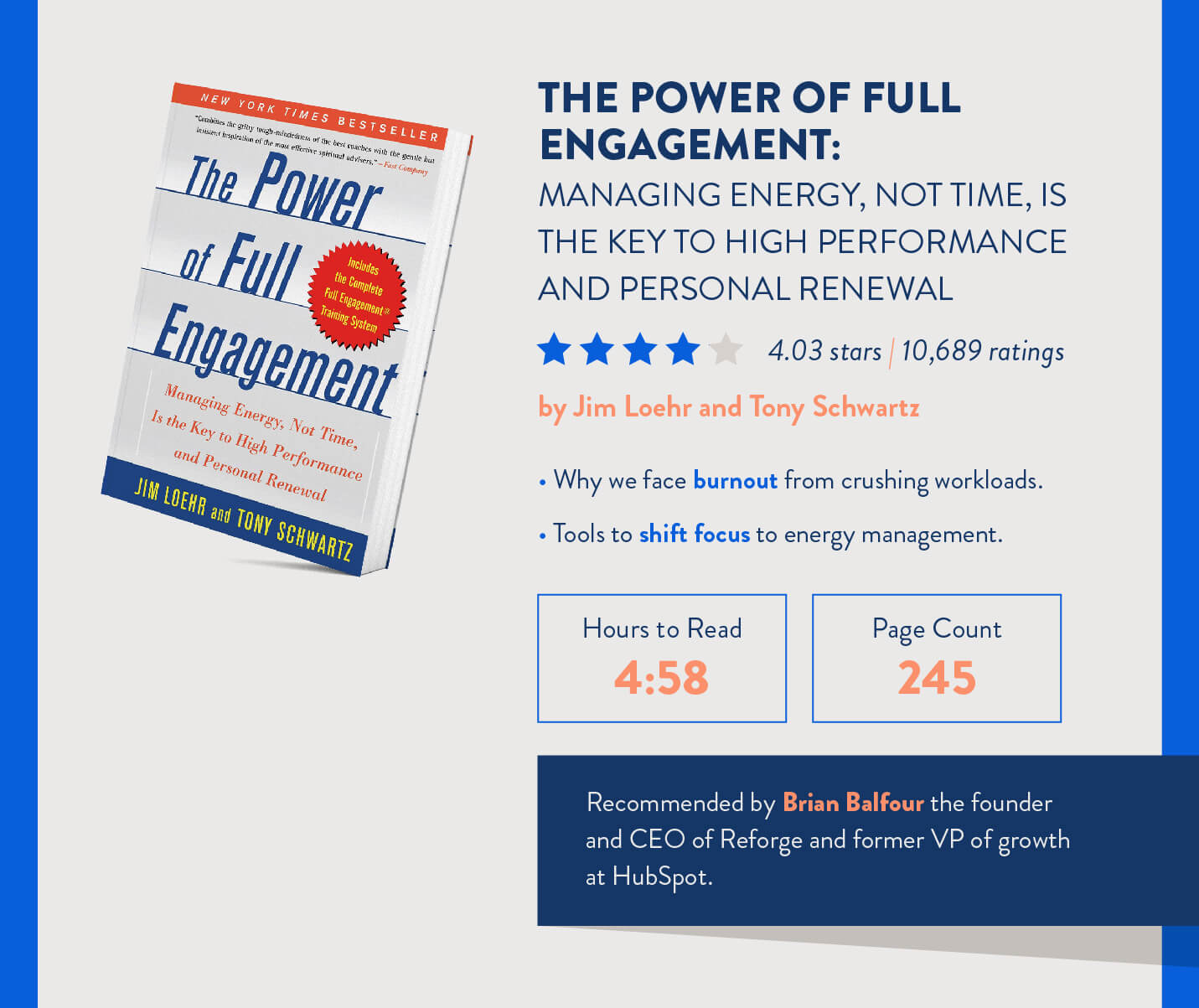 power of full engagement energy regulation book for mobile marketers with how long it takes to read and topics for discussion