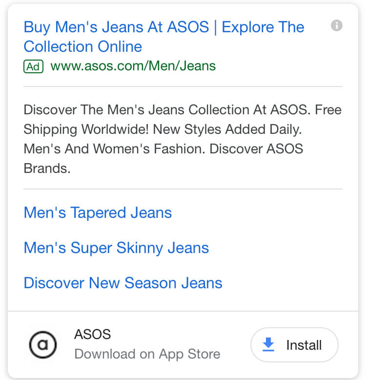 asos search result