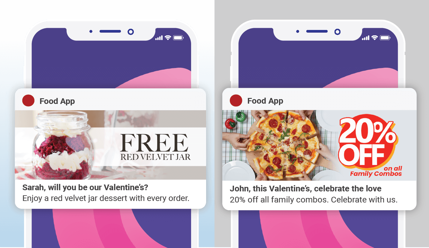 Valentines push notifications - food tech example