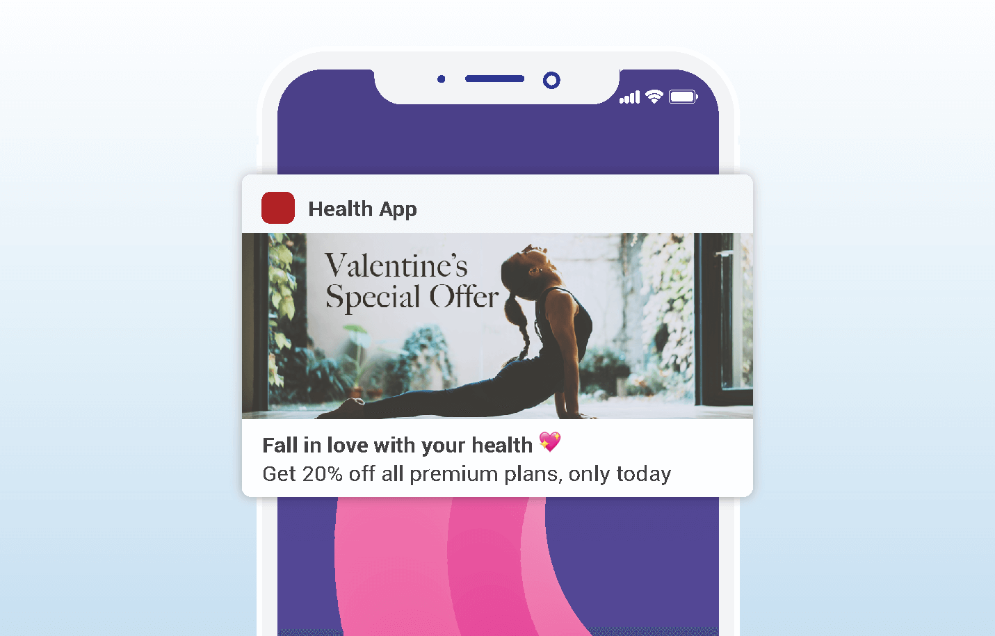 valentines push notifications - health tech app example