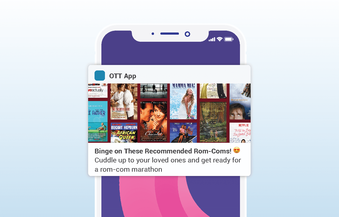 valentines push notifications - OTT media entertainment app example