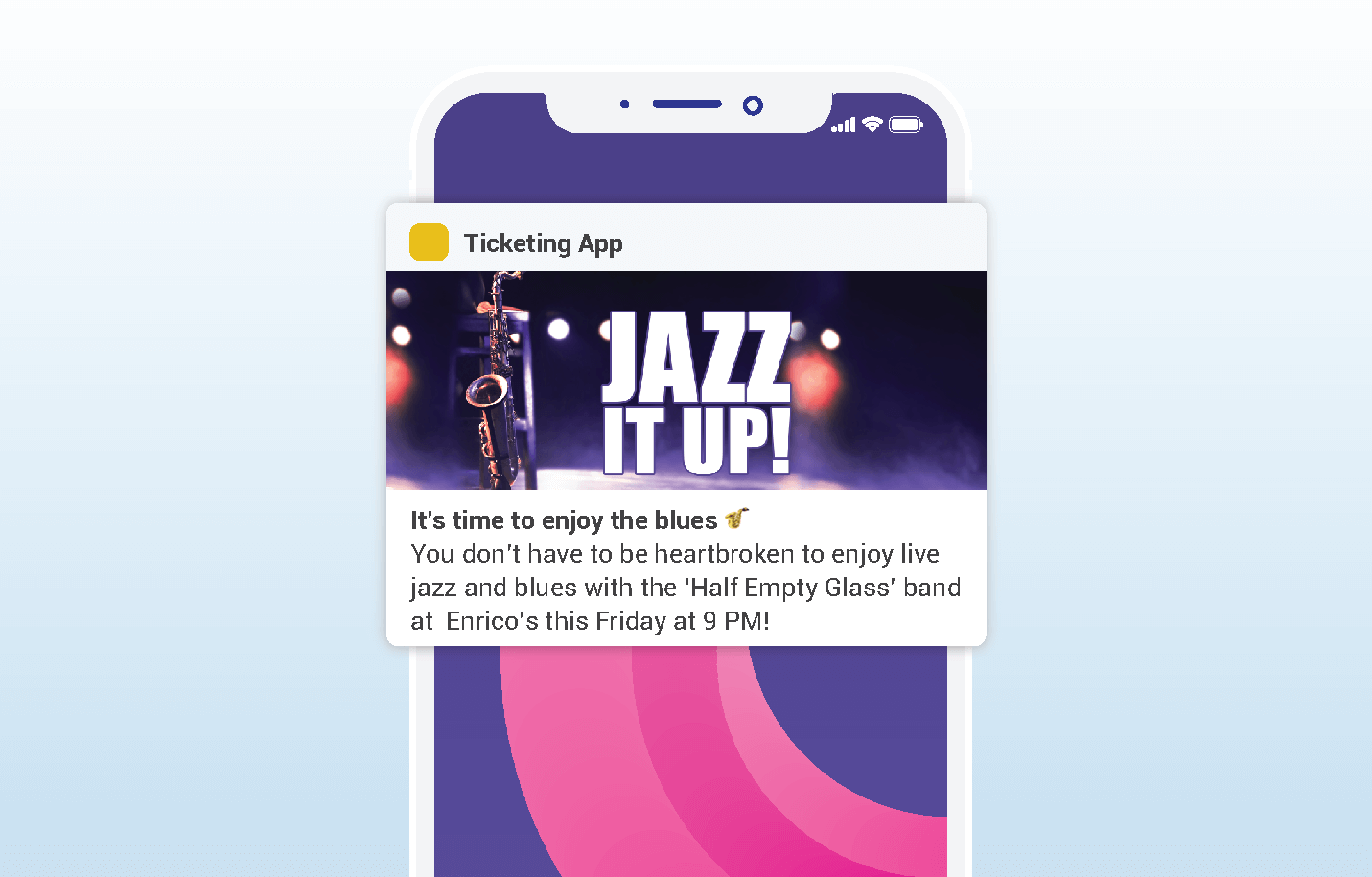 Valentines push notifications - ticketing app example