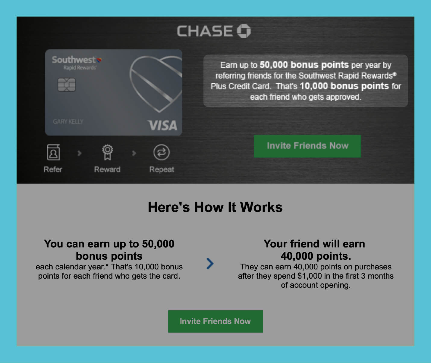 referral email from chase offering large valuable prize for referrals