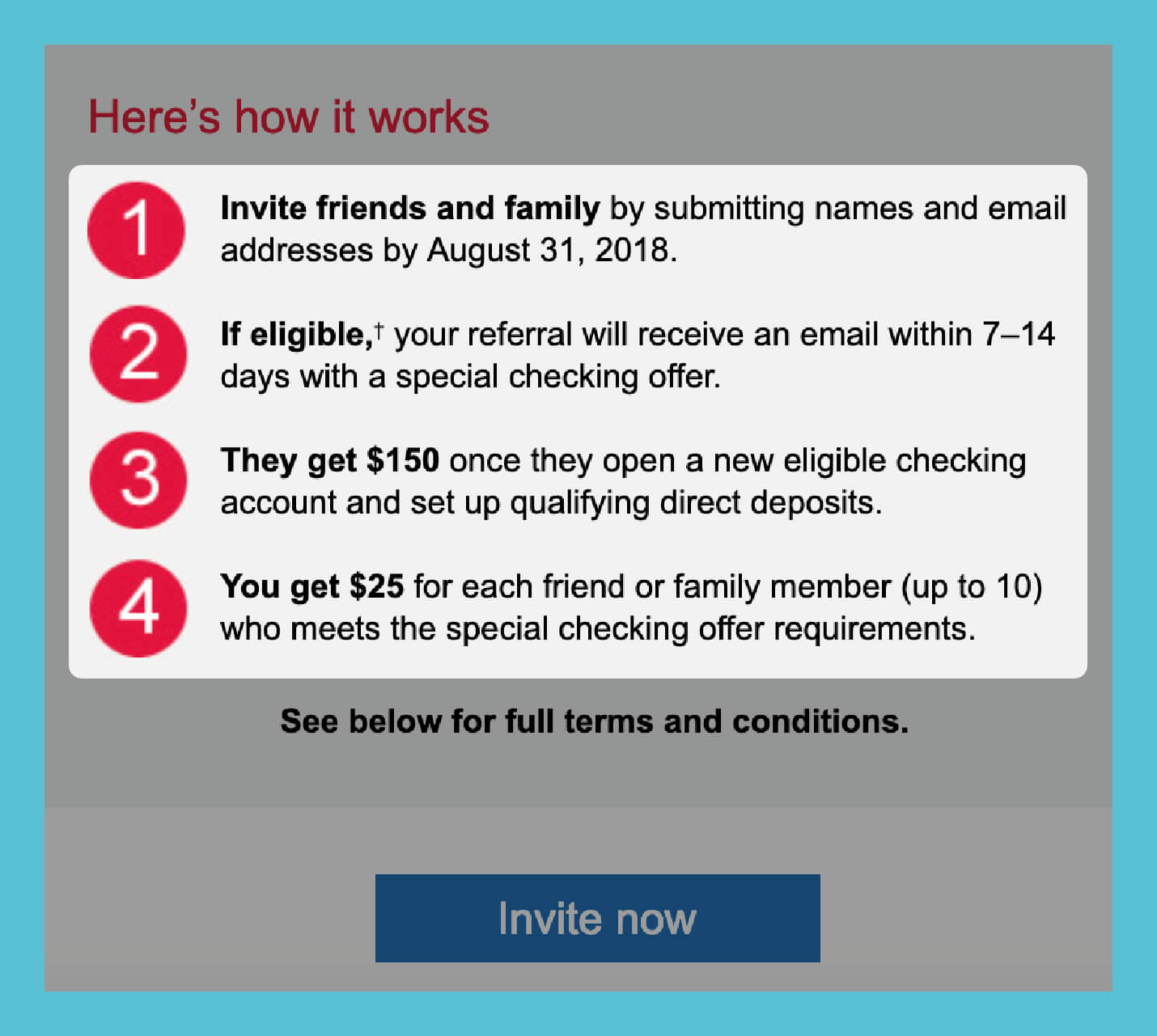 referral email outline the steps of referring new users from bank of america