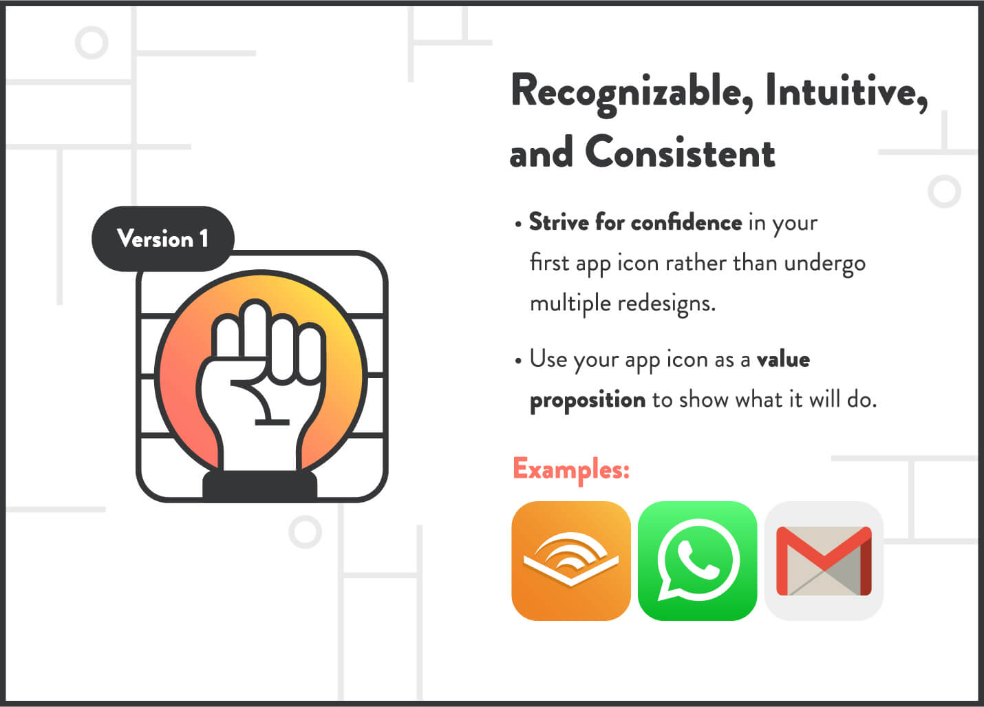 make app icons recognizable, intuitive, and consistent using examples from audible, whatsapp, and gmail