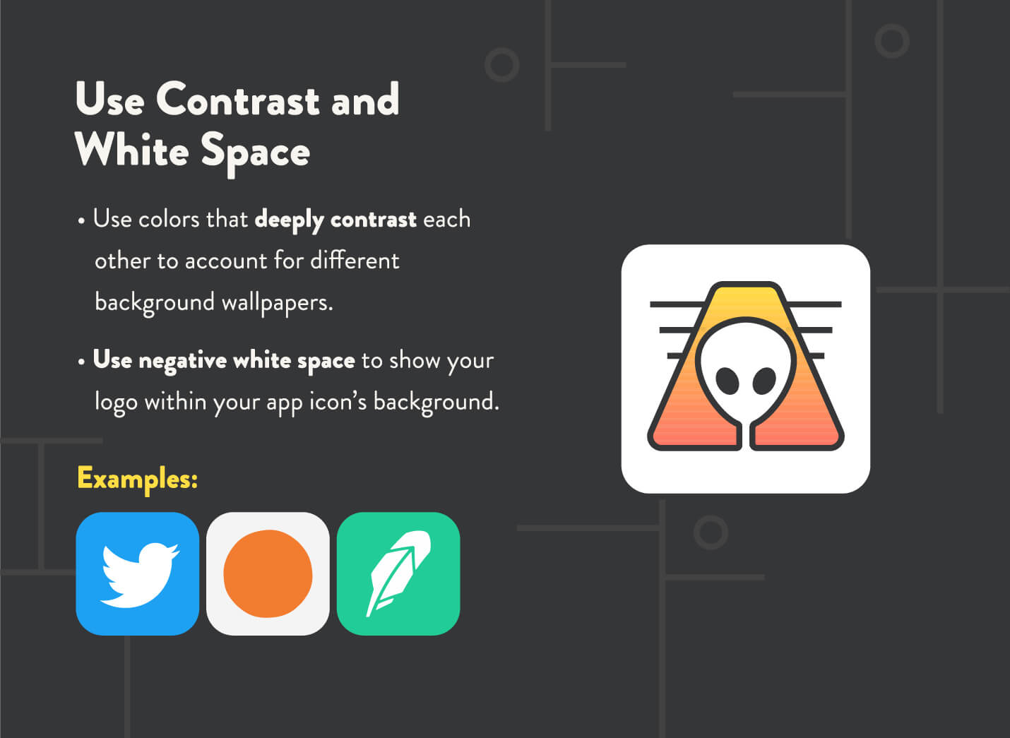 app icons white space and contrast examples include twitter, robinhood, and headspace