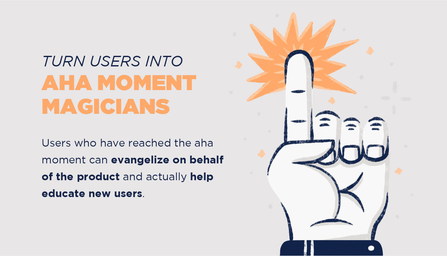 give users power of aha moment advocates pointer finger extended with burst of energy coming from tip of finger