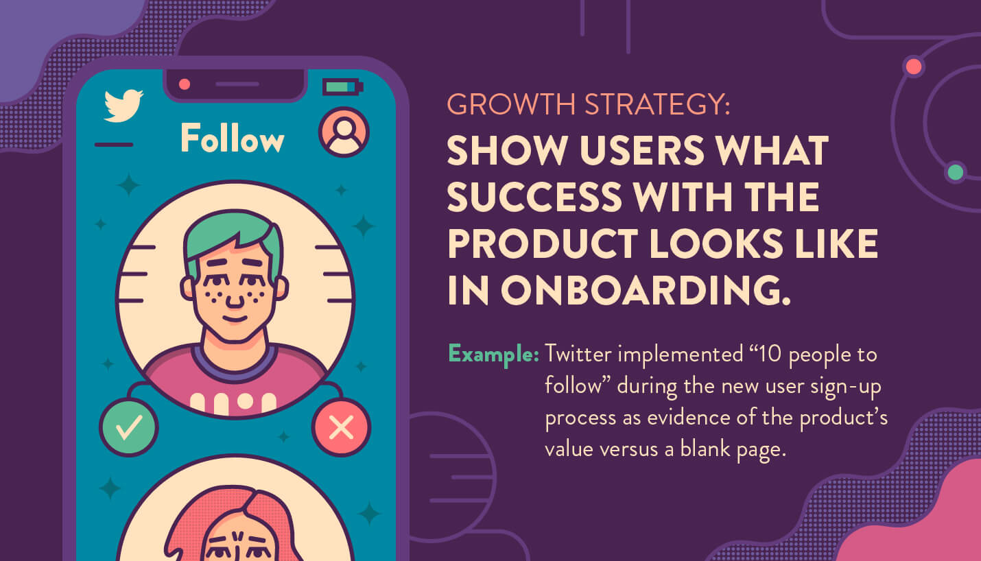 growth strategy to show users what success looks like when onboarding example from Twitter 10 people to follow