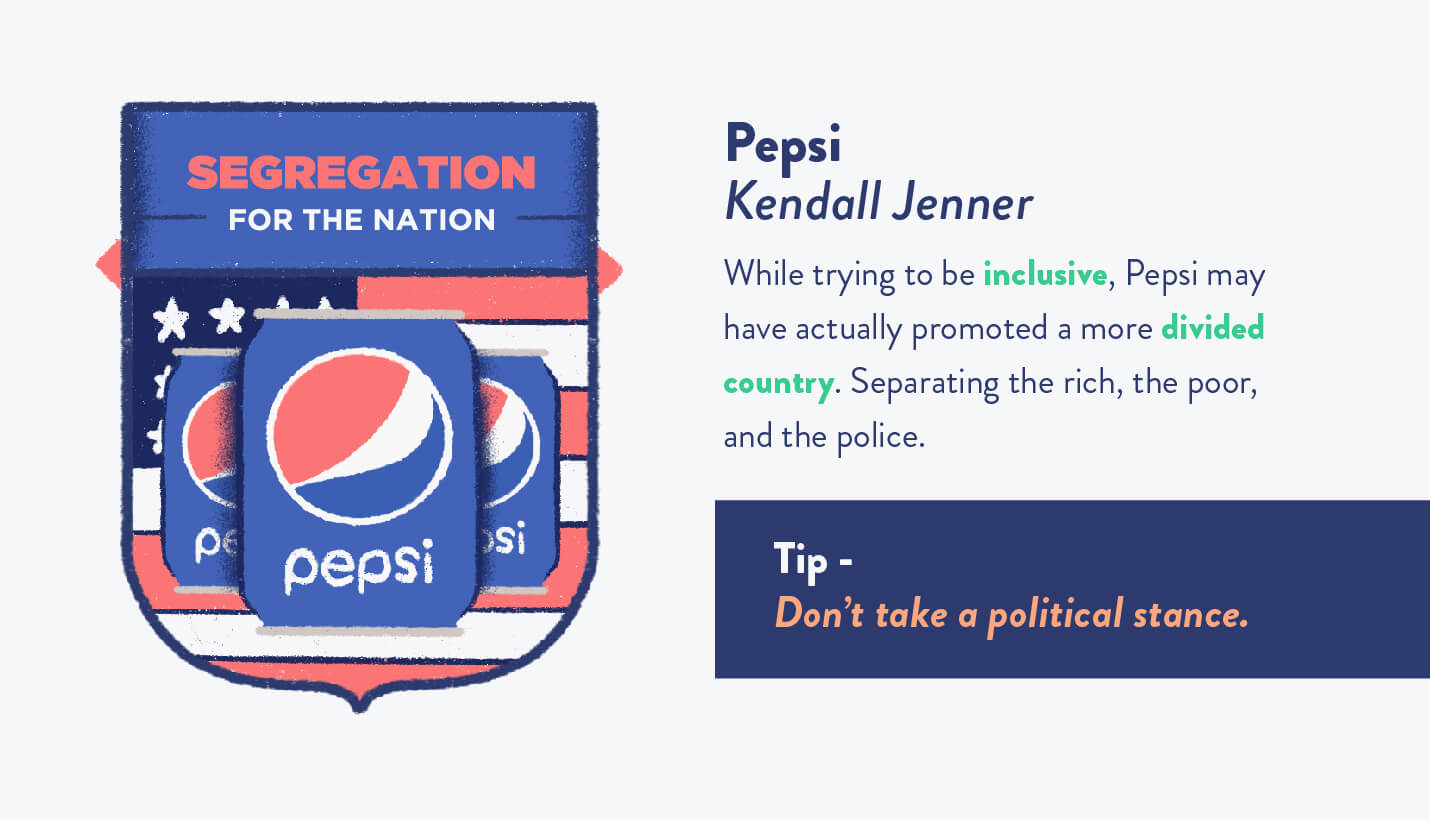"Pepsi ad campaign with ""segregation for the nation"" symbol and description of why their marketing to millennials strategy was flawed, reactions, and tips"