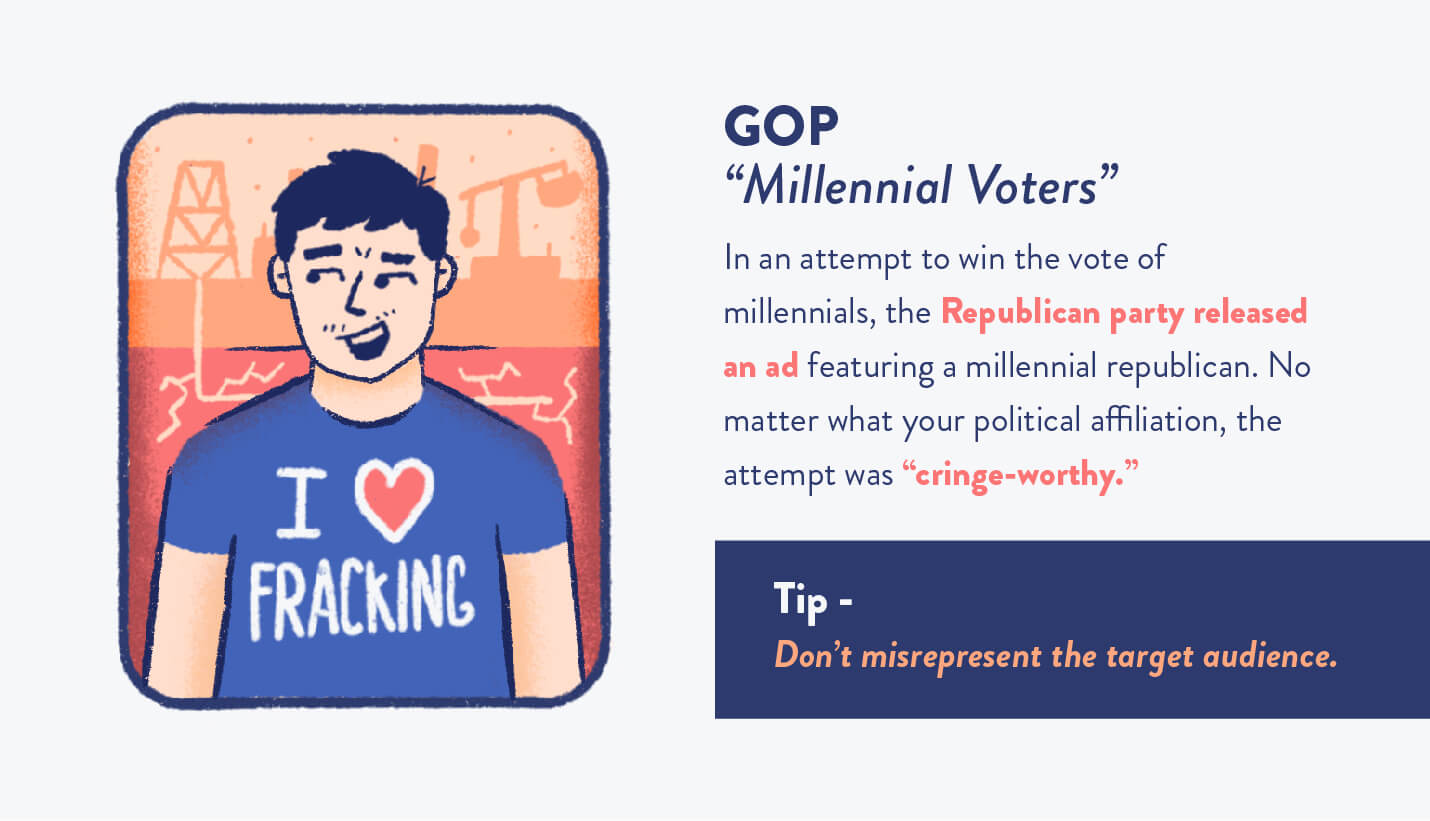 "Republican Party attempted to reach millennial voters but failed miserably with ""I love fracking"" shirt and tip"