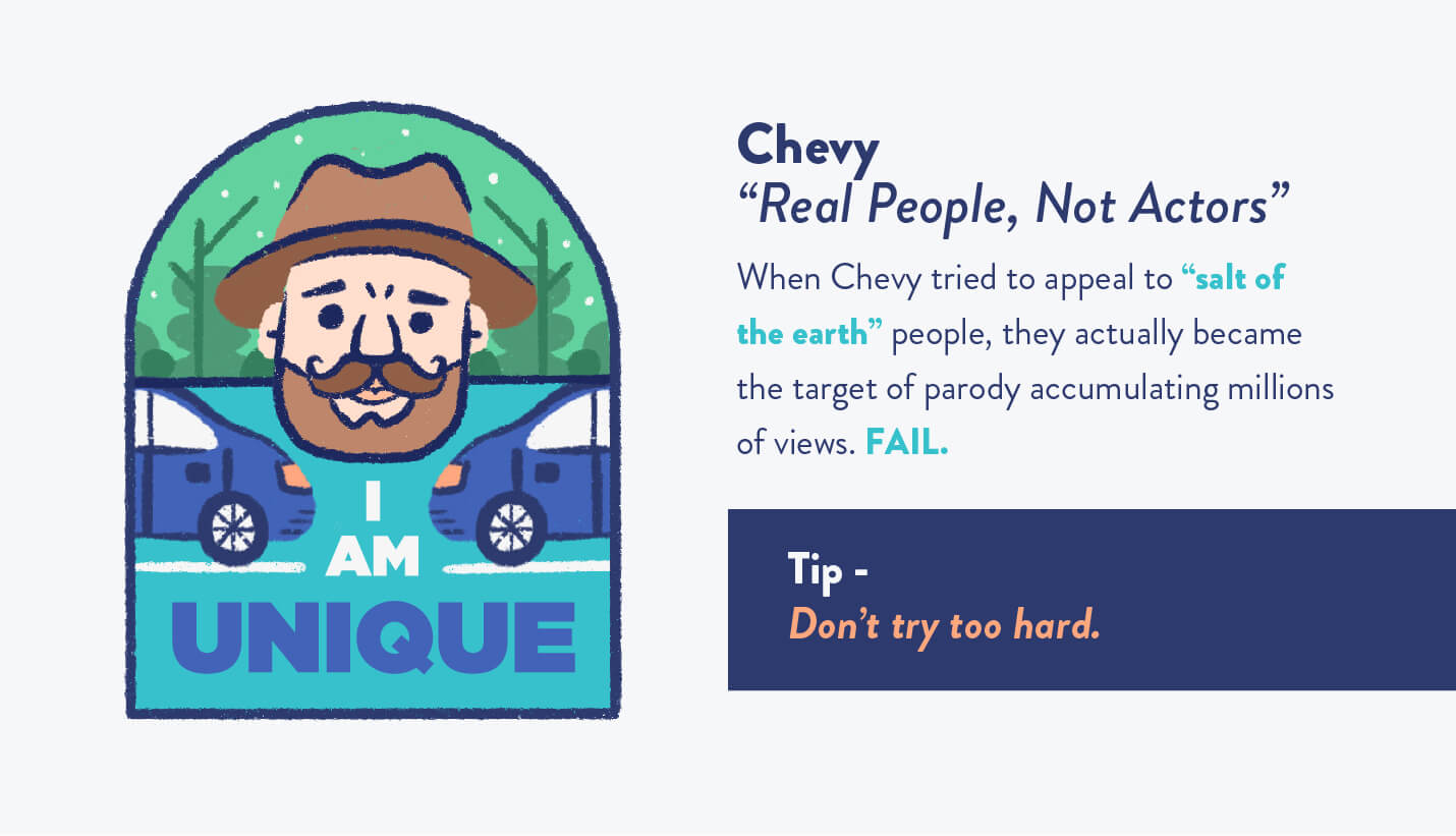 Chevy real people ad with bearded millennial wearing fedora illustration and blue car with descriptive text