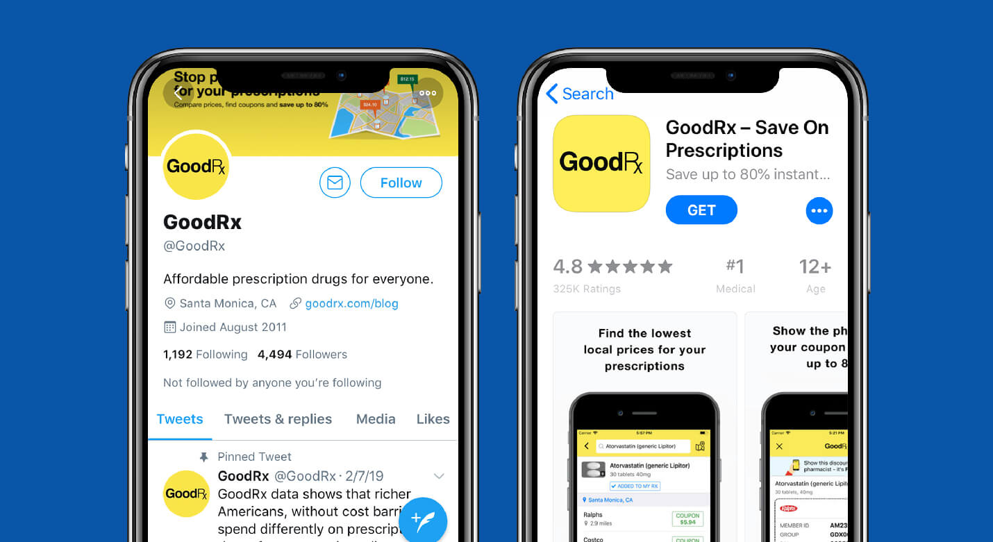 goodrx app store screenshot and twitter profile for value proposition examples