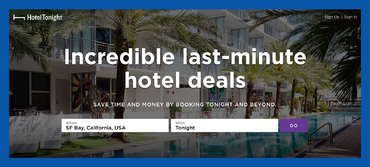 hotel tonight value proposition example baked into the company name