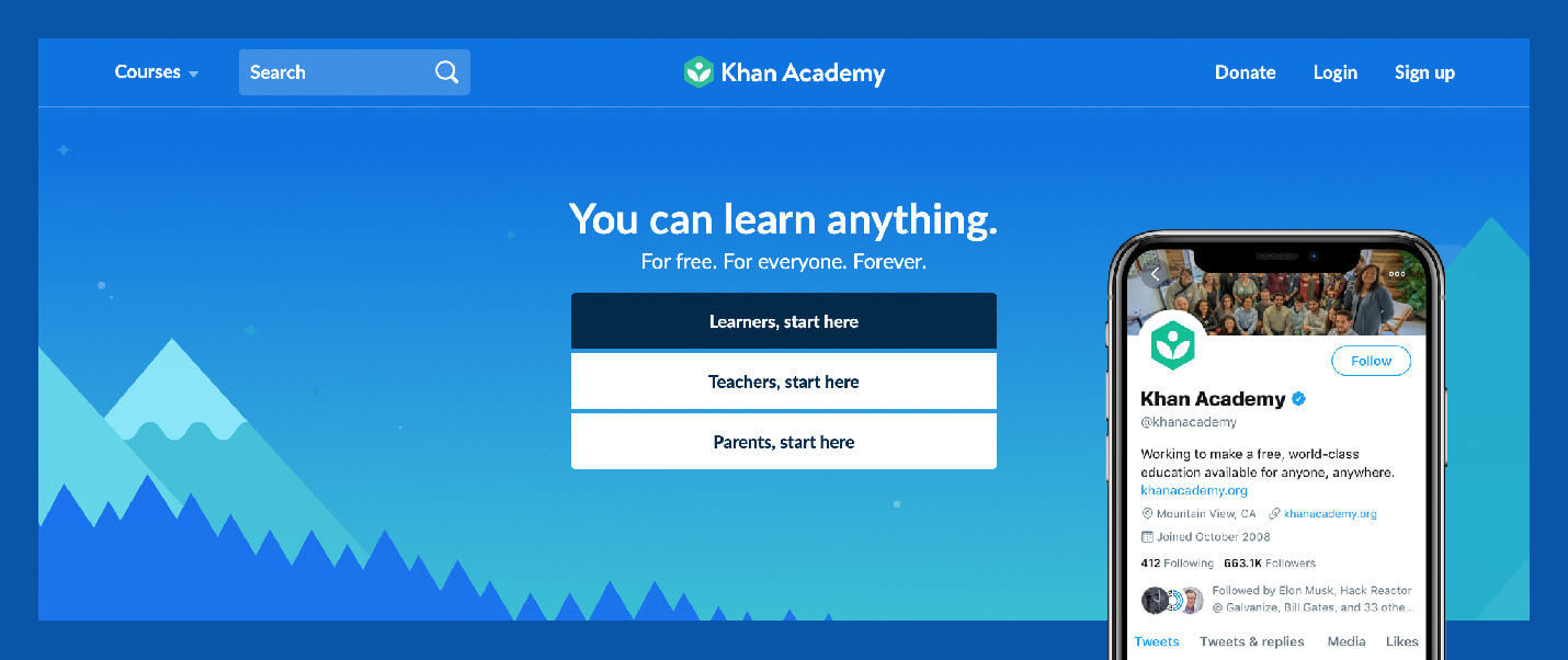 "value proposition example from khan academy with ""You can learn anything"" on web and mission statement on twitter bio"