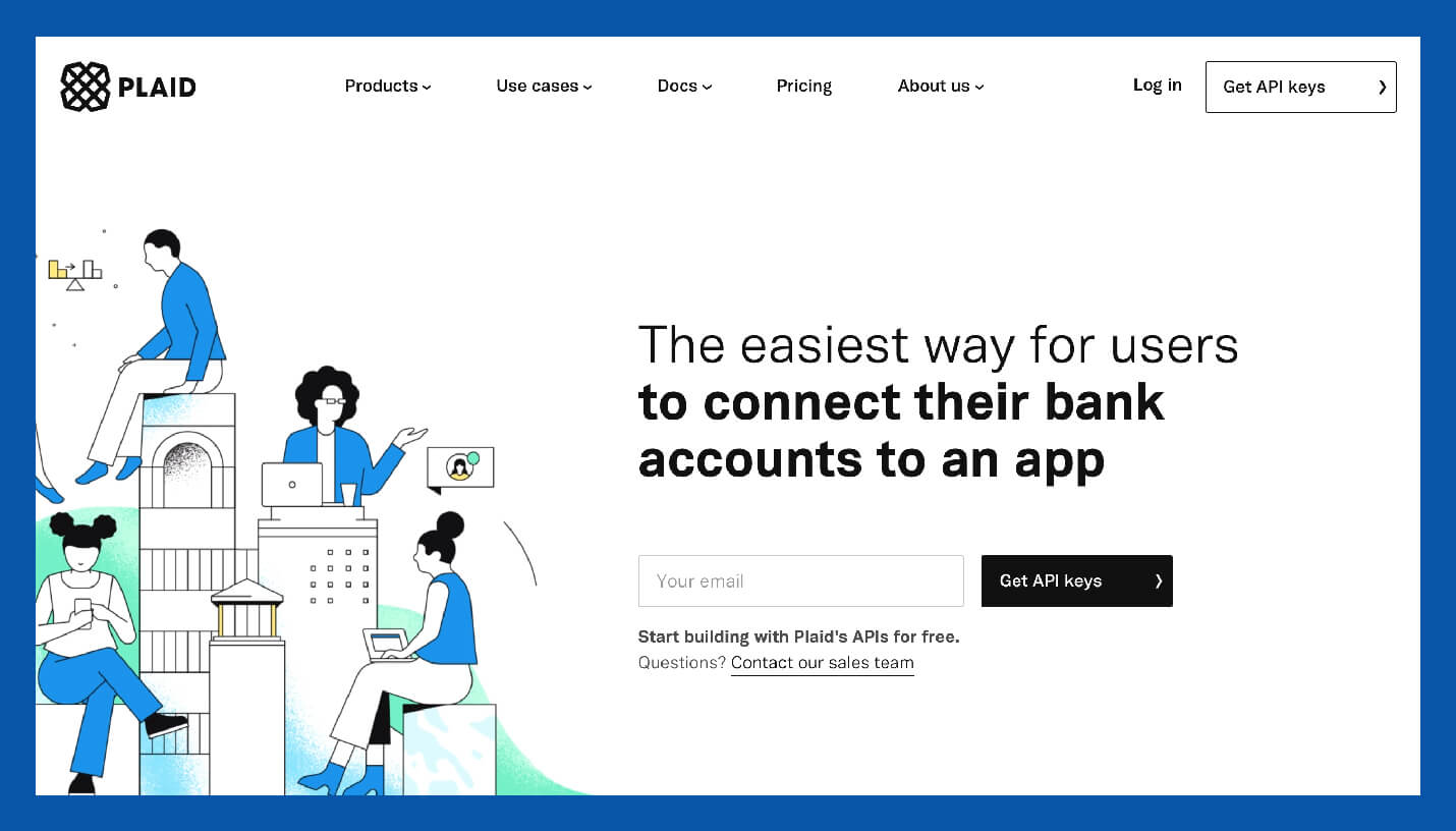 value proposition example from plaid featuring the easiest way for users to connect their bank accounts to an app