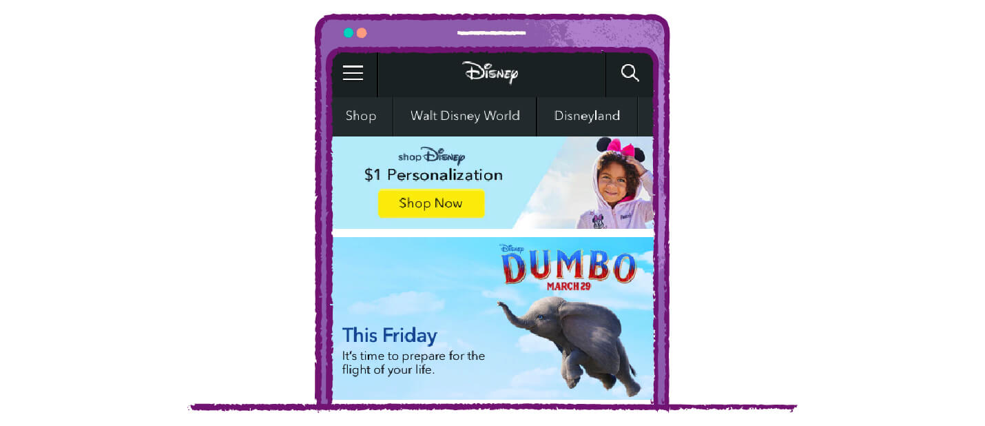 Disney call to action buttons with personalization and upcoming events